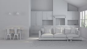 Modern interior of a country house. Repairs. Gray interior. 3D rendering Stock Photos