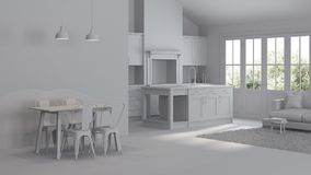 Modern interior of a country house. Repairs. Gray interior. 3D rendering Royalty Free Stock Photos