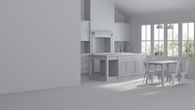 Modern interior of a country house. Repairs. Gray interior. 3D rendering Royalty Free Stock Images