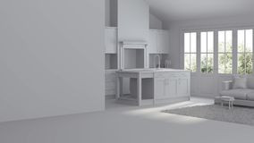 Modern interior of a country house. Repairs. Gray interior. 3D rendering Stock Image