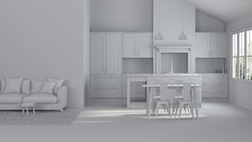 Modern interior of a country house. Repairs. Gray interior. 3D rendering Royalty Free Stock Photography