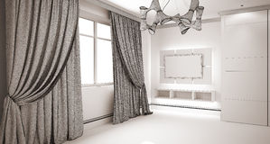 Modern interior. 3D render modern interior room with nice furniture inside Royalty Free Stock Images