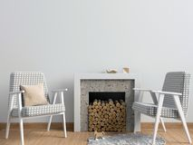 Modern  interior with a decorative fireplace, Scandinavian style. 3D illustration. wall mock up Royalty Free Stock Photo