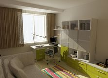 Modern interior design 3D computer rendering Royalty Free Stock Images