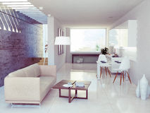 Modern interior. Design ( apartment 3d rendering Royalty Free Stock Images