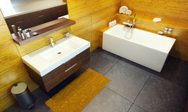 Modern interior design of a bathroom stock photo