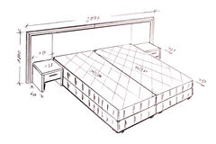 Modern interior design bed freehand drawing. Stock Image