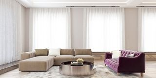 Modern interior design of a big living room with angled sofa and violet colored couch, yellow flowers and large windows. With curtains, very bright, 3d stock photo