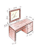 Modern interior design desk freehand drawing. Stock Image