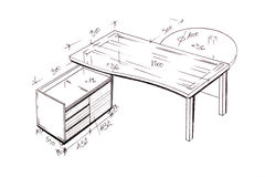 Modern interior design desk freehand drawing. Royalty Free Stock Photography