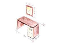 Modern interior design desk freehand drawing. Stock Images