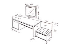 Modern interior design desk freehand drawing. Stock Photos