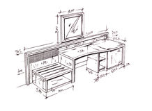 Modern interior design desk freehand drawing. Royalty Free Stock Photo