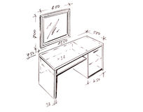 Modern interior design desk freehand drawing. Royalty Free Stock Images