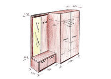 Modern interior design entrance freehand drawing. Royalty Free Stock Image