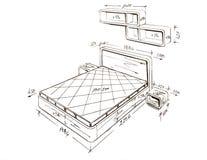 Modern interior design freehand drawing. Stock Photos