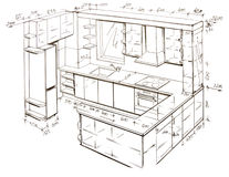 Modern interior design freehand drawing. Royalty Free Stock Photography