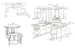 Modern interior design freehand drawing. Royalty Free Stock Photo