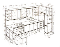 Modern interior design freehand drawing. Stock Images