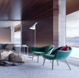 Modern interior design with green armchairs stock photography