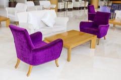 Modern interior design of a hotel lobby Stock Photo
