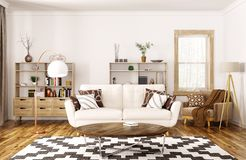 Interior of modern living room 3d rendering Royalty Free Stock Photo