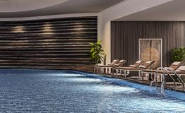 Modern interior design of indoor swimming pool with pool beds, night scene, hotel resort, spa, high contrast, dark, 3d. Illustration, 3d rendering royalty free stock photo