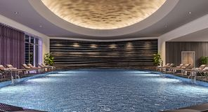 Modern interior design of indoor swimming pool with pool beds, night scene, hotel resort, spa, high contrast, dark. 3d illustration, 3d rendering royalty free stock photo