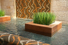 Modern Interior Design Indoors Waterfall Royalty Free Stock Photo