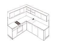 Modern interior design kitchen freehand drawing. Royalty Free Stock Photos