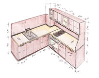 Modern interior design kitchen freehand drawing. Stock Photography