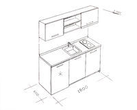Modern interior design kitchen freehand drawing. Stock Photo