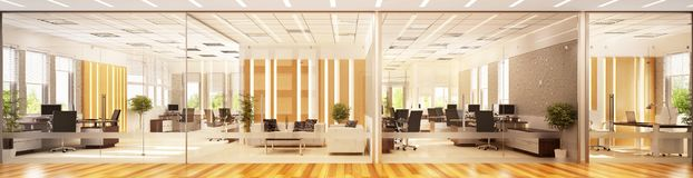 Modern interior design of a large office space