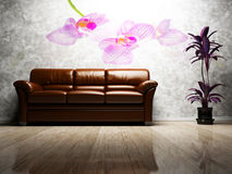 Modern  interior design of living room Stock Photos