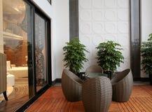 Modern interior design - Living room stock images