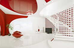 Modern interior design of living room 3d render Stock Photos