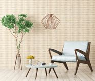 Interior of living room with armchair 3d rendering Royalty Free Stock Photos