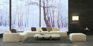 Modern interior design of living room Stock Images