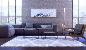 Modern interior design of living room. (3d Render Royalty Free Stock Image