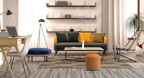 Modern interior design of living room. (3d Render Royalty Free Stock Photos