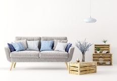 Interior of living room with sofa 3d rendering Stock Image