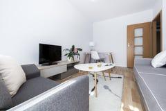 Modern interior design living room stock photography