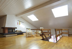 Modern interior design. Modern loft interior with wooden walls Royalty Free Stock Images
