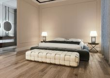 Modern interior design of master bedroom with large bathroom, king size bed with bed sheets, night scene royalty free illustration