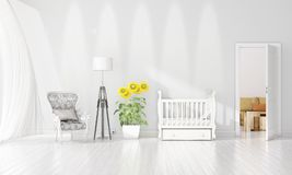 Modern interior design of nursery room in vogue with plant and copyspace in horizontal arrangement. 3D rendering. Modern loft interior design of bedroom in stock illustration