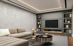 Free Modern Interior Design Of Living Room In Basement, Angled Close Up View Of Tv Wall With Book Shelves, Stucco Plaster Royalty Free Stock Photos - 151582408