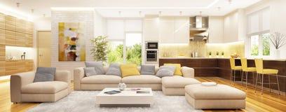 Modern interior design open space. Living room and kitchen and hallway. Interior design open space. Living room and kitchen and hallway royalty free stock photo