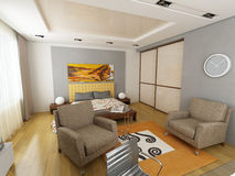Modern interior design (privat apartment 3d render Stock Image