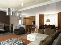Modern interior design (privat apartment 3d render royalty free stock photography