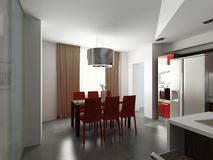 Modern interior design (privat apartment 3d render Royalty Free Stock Photo